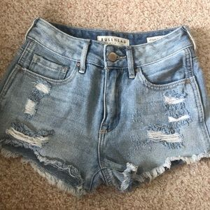 High rise ripped shorts